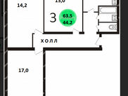 Купить трёхкомнатную квартиру по адресу Москва, ЦАО, Троицкая, дом 10, стр. 1